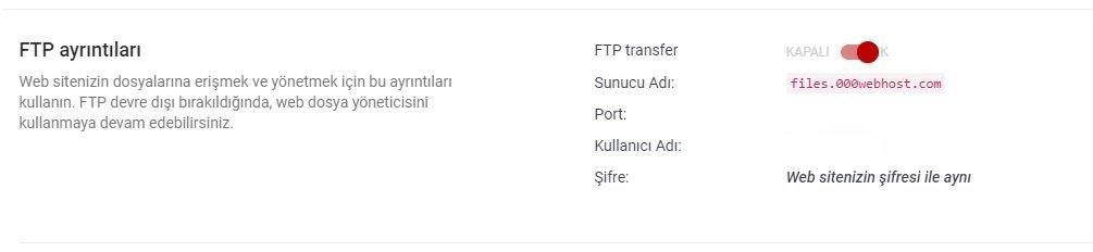 FTP Giriş Bilgileriniz