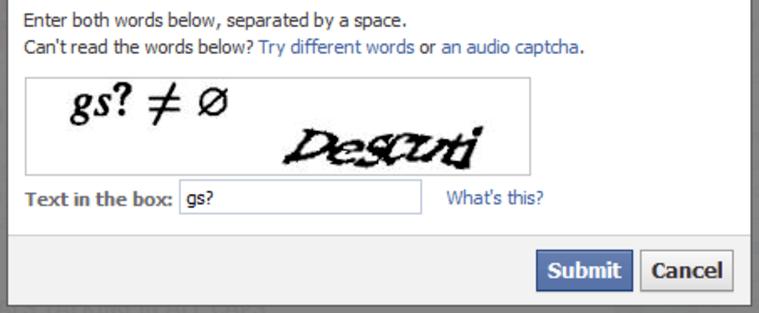 Bir CAPTCHA örneği
