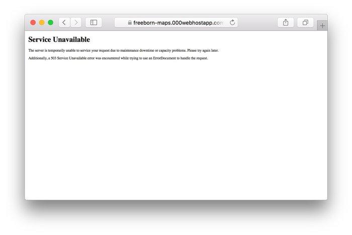 WordPress 503 service unavailable hatası örneği