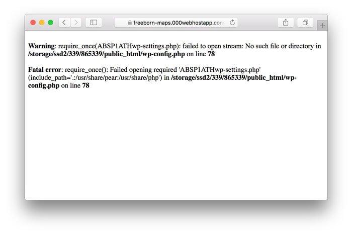 WordPress Hata Mesajı Görünümü